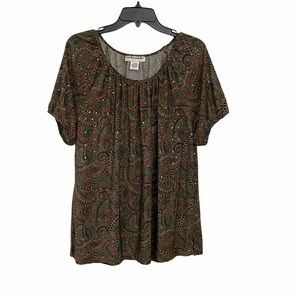 Cathy Daniels Paisley Print Sequined Tunic Top